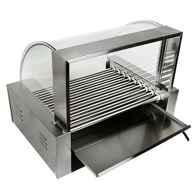 Commercial 360° 9 Roller Hot Dog Grilling Machine 1800W Stainless Steels w/Cover