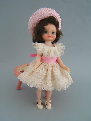 "Vintage 50's Betsy McCall 8"" Brunette Doll, Birthday Party Dress"