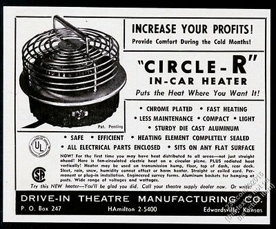 1964 Drive-In Theatre movie Circle R in-car heater photo vintage trade print ad