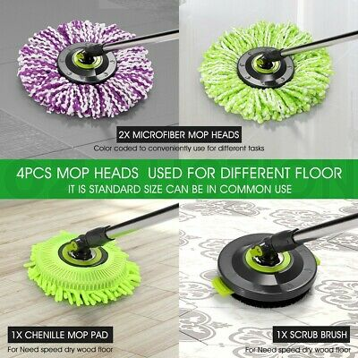 4 PCS Replacement Microfibre Spin Mop Heads 360°Spin Easy Clean Different Floor