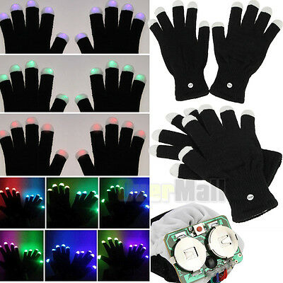 LED Rave Flashing Gloves Glow 7 Mode Light Up Finger Lighting One Pair Black