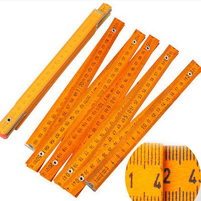 2M Folding Wood Wooden Metric Ruler Rule Measuring Carpenter Meter Tape Tools