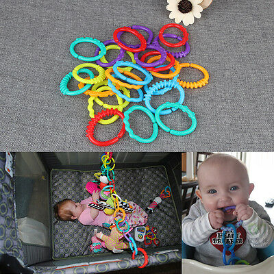 Baby Teething Ring Colorful  Rainbow Rings Stroller Gift Decoration Toys 24Pcs