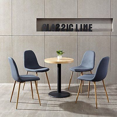 4X Eames Chair Metal Legs Fabric Cushion Seat and Back for Dining Room Chair