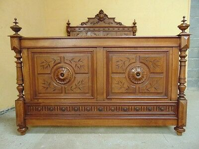 5 foot Henri II Carved  double bed C1890