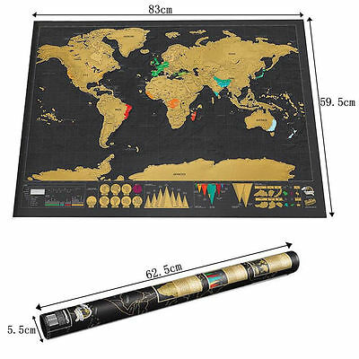 Large Scratch Off Map of the World Poster Wallpaper Personalized Travel Gift UK