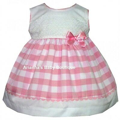 New Girls Spanish Alber Pink Gingham Dress With Bow & Lace Detail 1 & 6 Month