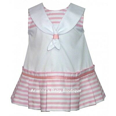**Sale ** New Girls Spanish Alber Pink Striped Sailor Dress  1 & 6 Month