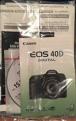 Canon EOS 40D Instruction Owners Manual Book Original w/ disc NEW in packaging!