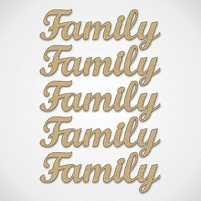 MDF Family Word  - For Family Tree Crafting - Wooden Craft Blank Shape - 5 Pack