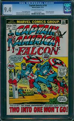 Captain America # 156  Two into One Won't Go !  CGC 9.4 scarce book !