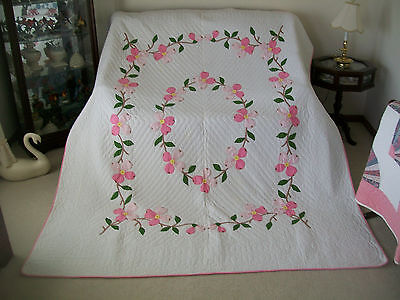 "Vintage Hand Applique Pink Dogwood Quilt - 74"" x 90"" - Hand Quilted - Beautiful"