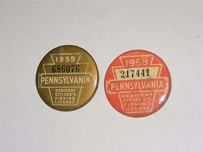 2 Vintage Pa State Fishing License Buttons - 1955 And 1958