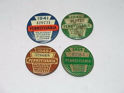 4 Vintage Pa State Fishing License Buttons - 1941 1945 1948 And 1954
