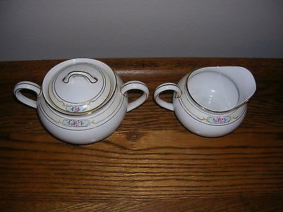 "SUGAR BOWL w/LID & CREAMER SET  ""THE CELTIC"" pattern by NORITAKE of JAPAN"