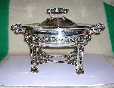 Barbour Co. Sterling Silver Victorian Entree Dish With Liner & Warming Stand B/o