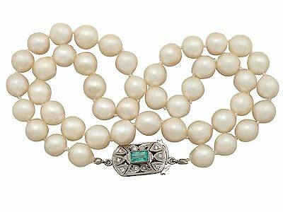 Vintage Single Strand Pearl, Emerald and Diamond, 9 ct White Gold Necklace