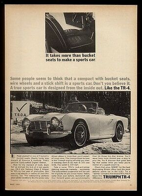1963 Triumph TR4 TR-4 car in snow photo vintage print ad