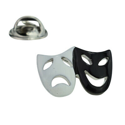 Black & White Comedy & Tragedy Theatre Masks Lapel Pin Badge X2AJTP595