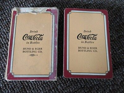 """RARE 1930s COCA-COLA """"HUND & EGER"""" PINOCHLE PLAYING CARDS in BOX!...Maroon"""