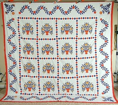 XL OUTSTANDING Vintage Floral Urn Applique Quilt Top ~DIAMOND & VINE BORDERS!