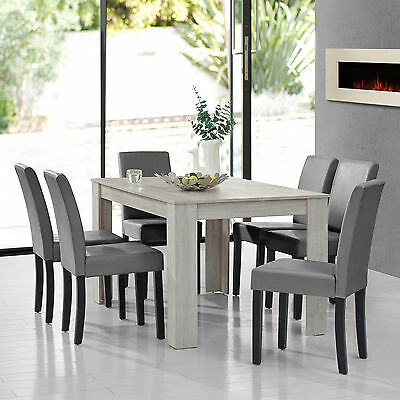 [en.casa] Dining Table Oak White with 6 Chairs Light Grey 140x90 Modern