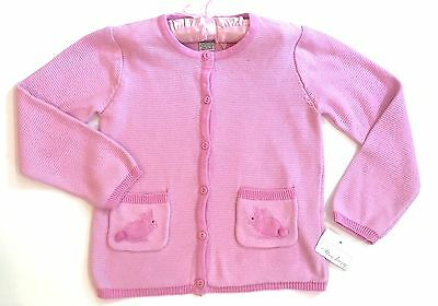 NWT Strasburg Boutique Girls 6 6X 7 Pink Bunny Rabbit Pockets Cardigan Sweater
