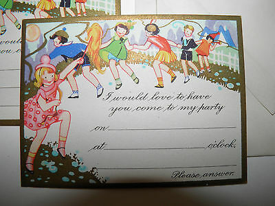 Lot 7 Vintage 1930's/40's Party Invitation Greeting Cards With Envelopes