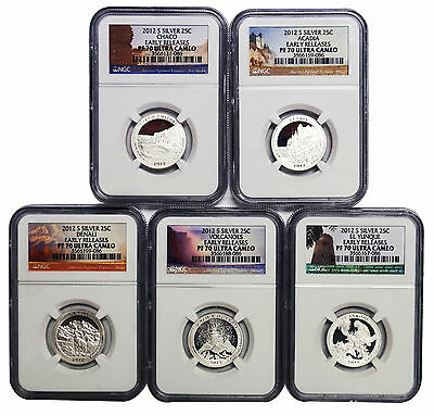 2012 S Silver Quarter 5 Coin Proof Set NGC PF70 UC America The Beautiful ATB 25C