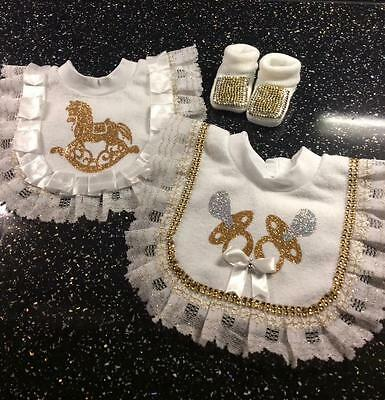 Romany Crystal Bling Unisex Baby Gift Set Frilly Bibs x 2 & Bootees