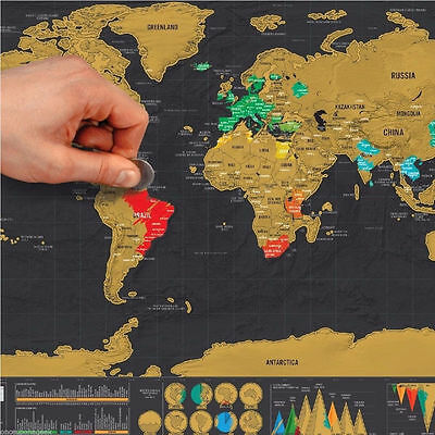 LARGER Travel Edition Scratch Off World Map Poster Personalized Journal Log UK