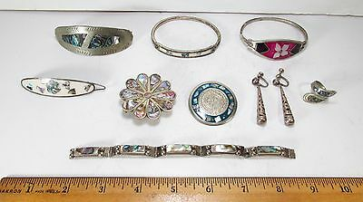 Vintage Lot of 7 Pieces All Made in Mexico Alpaca Silver Various Jewelry 73g