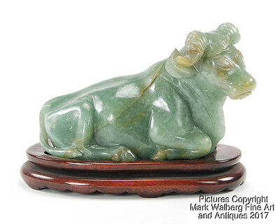 Chinese Green Jadeite Carving of Reclining Water Buffalo with Stand, 19/20th C.