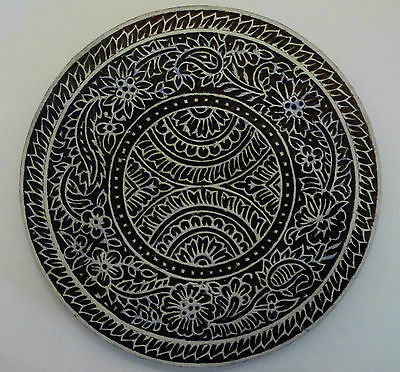 Round Shaped Floral 16cm Indian Hand Carved Wooden Printing Block (RD29)