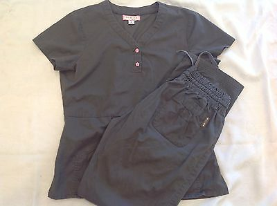 Koi Scrub Set Size Medium Pants Top Gray Grey Pink Buttons  Kathy Peterson