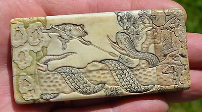 Rare Antique Chinese Qing Dynasty Bovine Card Case China Snake Vs Frog