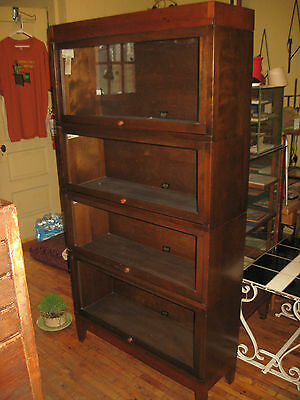 Hale/Globe Wernicke Walnut Stacking Barrister Bookcase 4 High Sectional 1940's