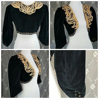 Vintage 1900s Bolero jacket VELVET Lace and beaded EDWARDIAN Victorian PERIOD