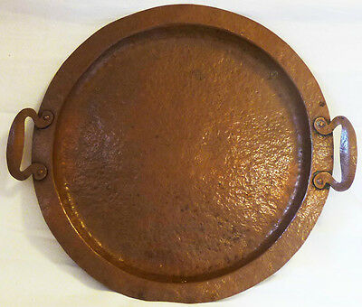 Arts And Craft 1915  ,hand Hammered Copper Tray W/ Riveted  Handles