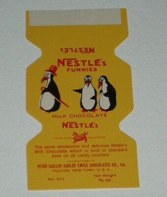 1930's NESTLE'S FUNNIES Candy Bar Wrapper - Penguins