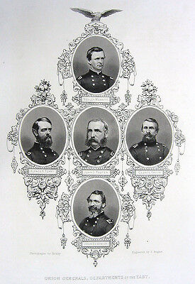 UNION ARMY GENERALS MERRITT FOSTER CROOK TERRY SEDGWICK 1865 Engraving Art Print