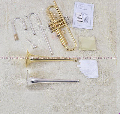 Professional JinBao gold silver Bb Trumpet Horn 2pcs convertible bell with case