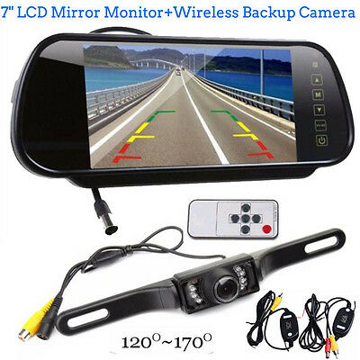 7'' LCD Mirror Monitor+Wireless Car Reverse Rear View Backup Camera Night Vision