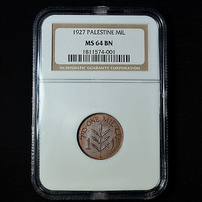 1927 Palestine, One Mil, Choice Uncirculated, Ngc Ms64Bn