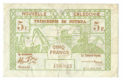 1943 New Caledonia 5 Francs Note, P-57, Very Fine