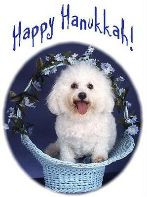 Pet Hanukkah Greeting Cards:Dog Bichon Frise
