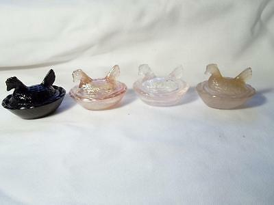 4 Miniature Mini Pink Glass Chickens Hens On A Nest Open Salt Dips Or Cellars