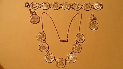 VINTAGE CORO JEWELRY SET , oriental design , BRACELET NECKLACE EARRINGS