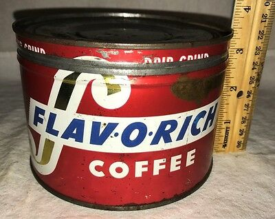 Antique Flavorich Coffee Tin Litho 1# Keywind Can Vintage Super Value Hopkins Mn
