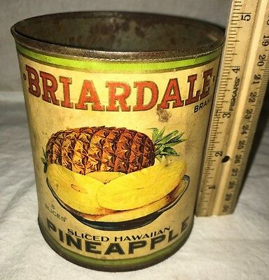 Antique Briardale Pineapple Tin Vintage Grocery Country Store Can Des Moines Ia